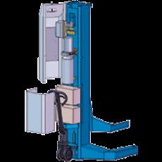 リフト1柱あたり12V100Aの自動車用バッテリーを2個使用