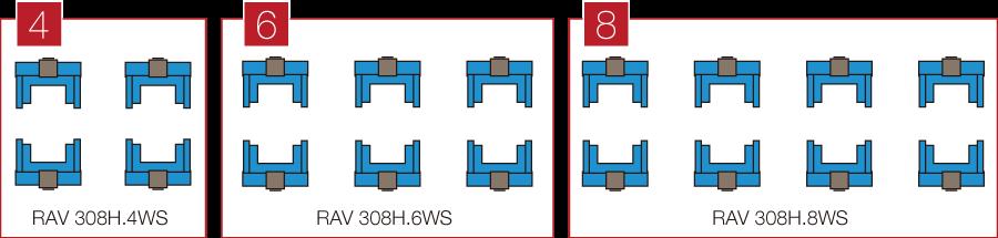 4コラム、6コラム、8コラムの組み合わせで同時接続ができます